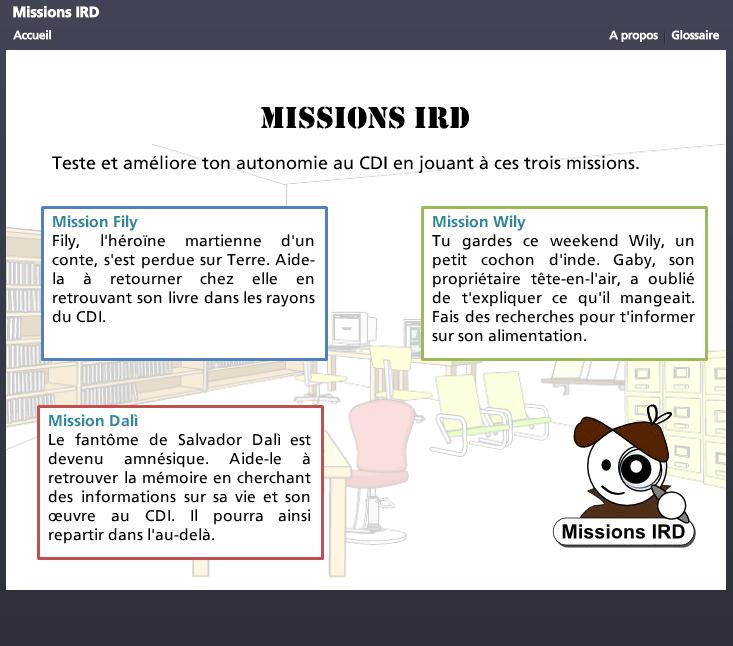 Missions IRD - Jeu sérieux d'initiation à la recherche documentaire.
