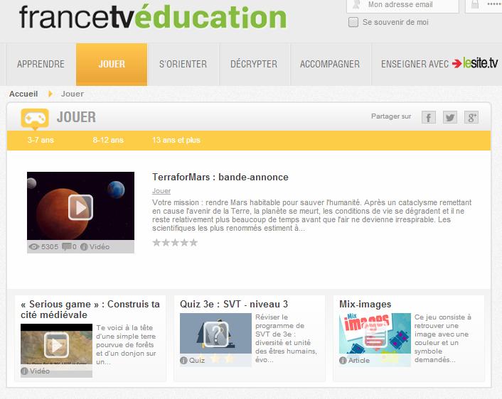Les jeux éducatifs en ligne de FranceTV éducation.