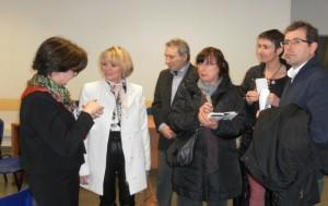Forum des métiers 2014 : Madame Berjot, Principal du collège Capeyron, Madame Marie Récalde, députée et adjointe au Maire de Mérignac, les représentants des parents d'élèves.